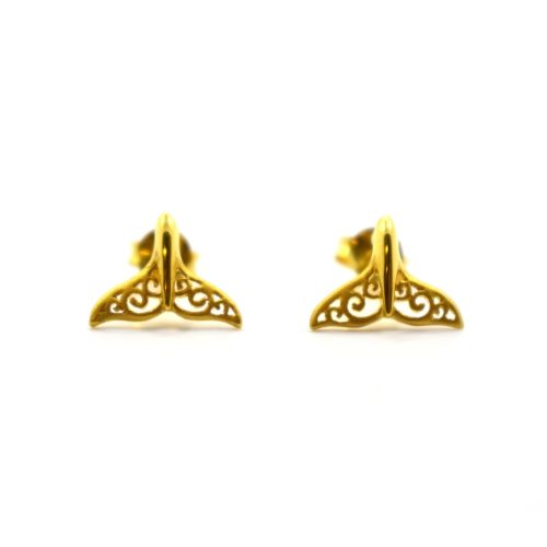 Gold Plated Whale Tail Earrings, Jewellery