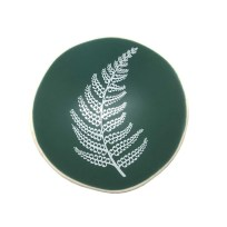 Handmade Porcelain Bowl – White Fern on Green