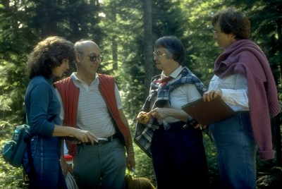 Maggie Rogers, second from right, working on the chanterelle population project. Lorelei Norvell and Frank Kopecky are to the left of her, and Jan Lindgren to the right.
