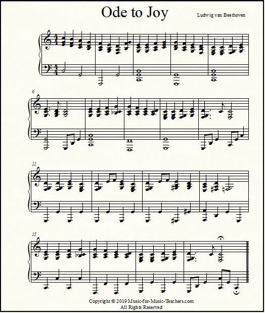Ode To Joy Sheet Music For Piano Easy
