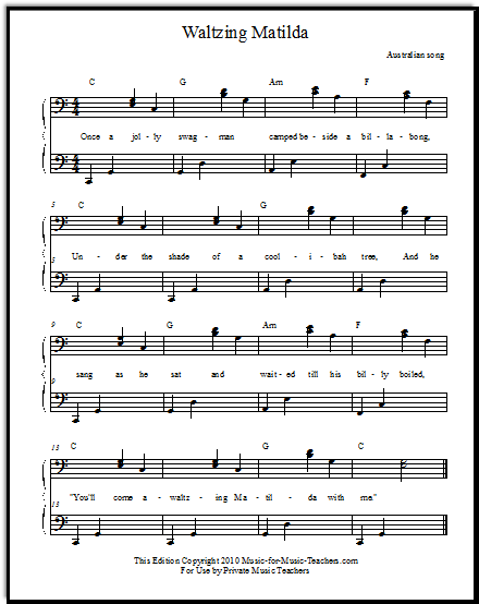 Free Popular Sheet Music Waltzing Matilda For Beginner