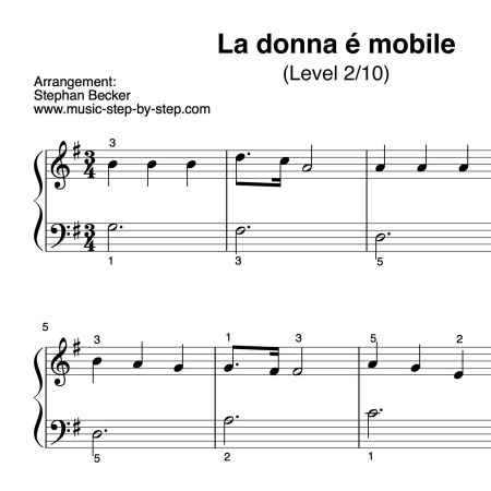 """La donna é mobile"" für Klavier (Level 2/10) | inkl. Aufnahme und Text...music-step-by-step"