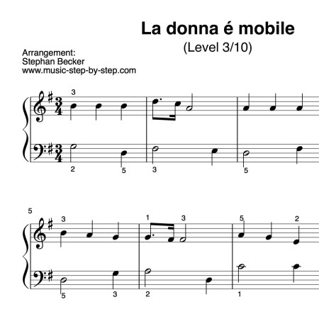 """La donna é mobile"" für Klavier (Level 3/10) | inkl. Aufnahme und Text...music-step-by-step"