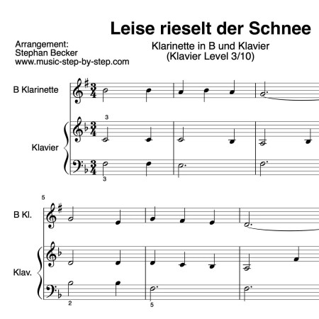 """""""Leise rieselt der Schnee"""" für Klarinette in B (Klavierbegleitung Level 3/10)   inkl. Aufnahme, Text und Playalong...music-step-by-step"""