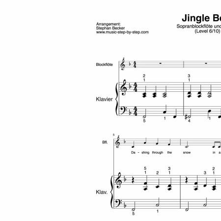 """Jingle Bells"" für Sopranblockflöte (Klavierbegleitung Level 6/10) | inkl. Aufnahme, Text und Playalong music-step-by-step"