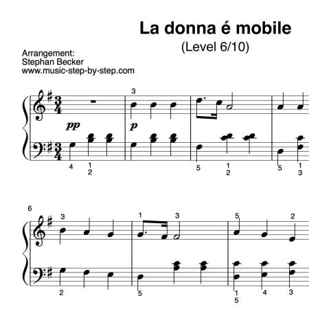 """La donna é mobile"" für Klavier (Level 6/10)   inkl. Aufnahme und Text...music-step-by-step"