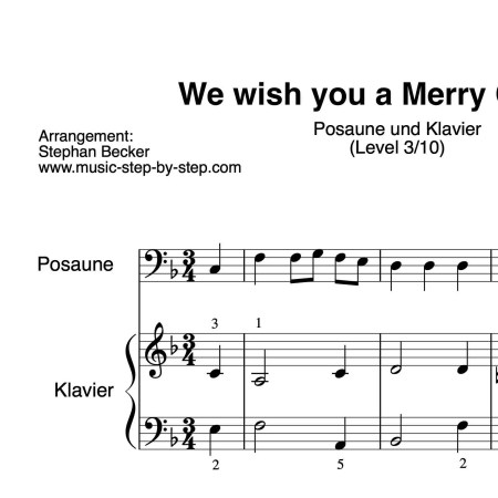 """We wish you a Merry Christmas"" für Posaune (Klavierbegleitung Level 3/10)"