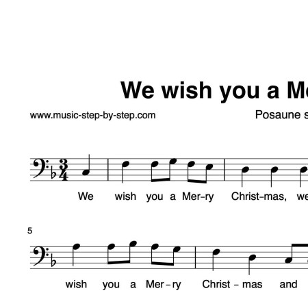 """""""We wish you a Merry Christmas"""" für Posaune solo   inkl. Aufnahme und Text music-step-by-step"""