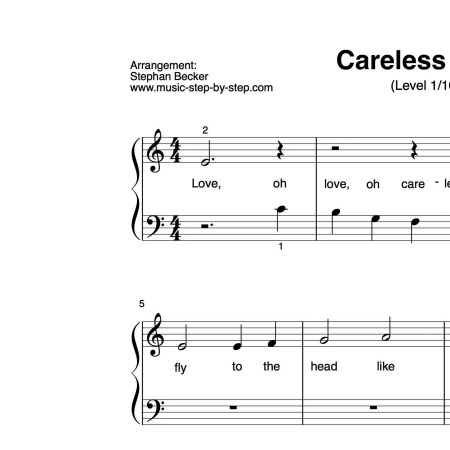 """Careless Love"" für Klavier (Level 1/10) 