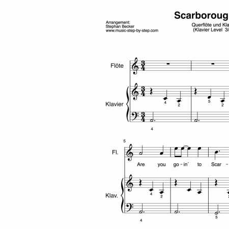 """Scarborough Fair"" für Querflöte (Klavierbegleitung Level 3/10) 