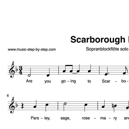 """""""Scarborough Fair"""" für Sopranblockflöte solo   inkl. Aufnahme und Textmusic-step-by-step"""