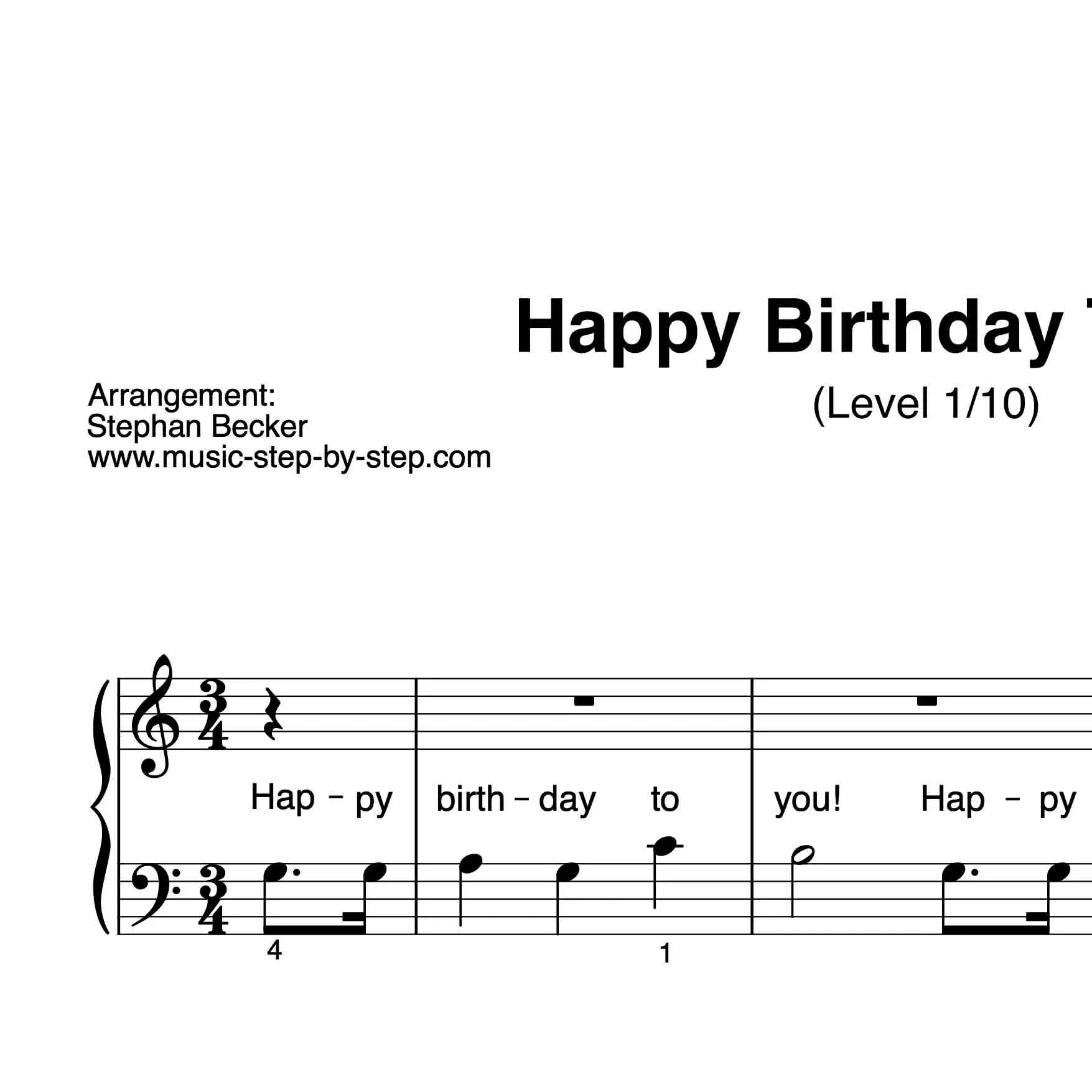 Happy Birthday To You Fur Klavier Sehr Leicht