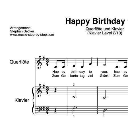 """Happy Birthday"" für Querflöte (Klavierbegleitung Level 2/10) 