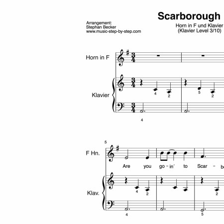 """Scarborough Fair"" für Horn in F (Klavierbegleitung Level 3/10) 