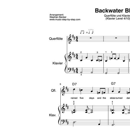 """Backwater Blues"" für Querflöte (Klavierbegleitung Level 4/10) | inkl. Aufnahme, Text und Playalong by music-step-by-step"