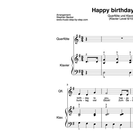 """Happy birthday to you"" für Querflöte (Klavierbegleitung Level 6/10) 