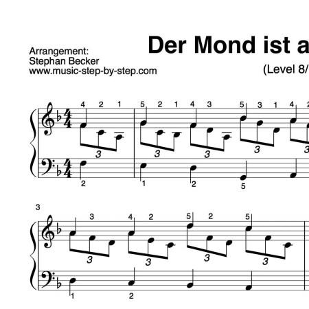 """""""Der Mond ist aufgegangen"""" für Klavier (Level 8/10)   inkl. Aufnahme und Text by music-step-by-step"""