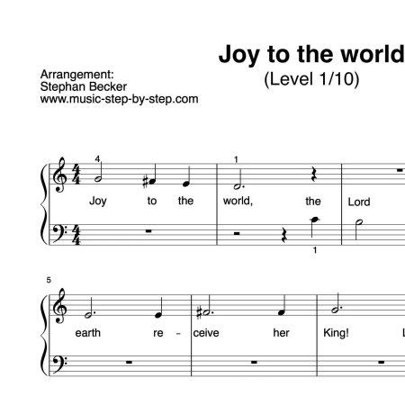 """Joy to the world"" für Klavier (Level 1/10) 