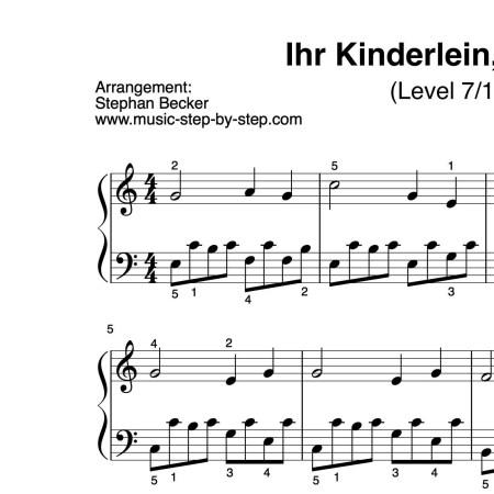 """""""Ihr Kinderlein, kommet"""" für Klavier (Level 7/10)   inkl. Aufnahme und Text music-step-by-step"""