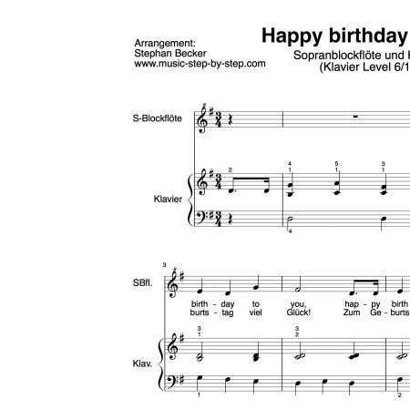 für Sopranblockflöte und Klavier, Schwierigkeitsgrad Klavier Level 6, mittelschwer, mit Vorspiel, inklusive Fingersätze, Auszüge der Stimmen, Noten und Text als pdf, Audio als mp3 music-step-by-step
