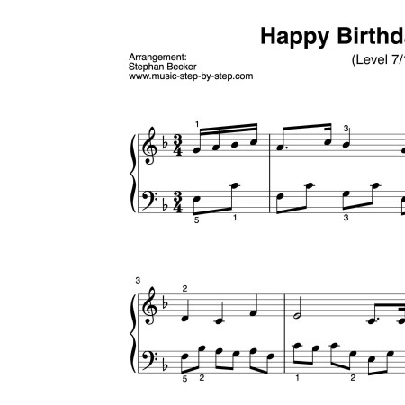 """Happy birthday to you"" für Klavier (Level 7/10) 