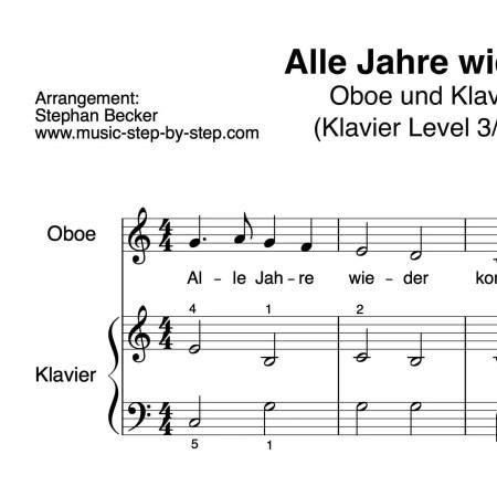 """""""Alle Jahre wieder"""" für Oboe (Klavierbegleitung Level 3/10)   inkl. Aufnahme, Text und Playalong music-step-by-step"""