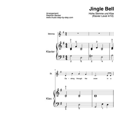 """Jingle Bells"" für hohe Stimme (Klavierbegleitung Level 4/10) | inkl. Aufnahme, Text und Playalong music-step-by-step"