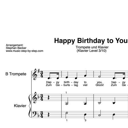 """Happy birthday to you"" für Trompete (Klavierbegleitung Level 3/10)   inkl. Aufnahme, Text und Playalong by music-step-by-step"
