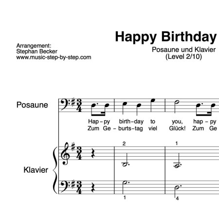 """Happy Birthday to You"" für Posaune (Klavierbegleitung Level 2/10)   inkl. Aufnahme, Text und Playalong by music-step-by-step"