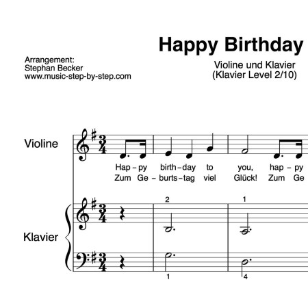 """Happy Birthday to You"" für Violine (Klavierbegleitung Level 2/10) 