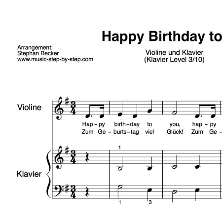 """Happy Birthday to You"" für Violine (Klavierbegleitung Level 3/10) 