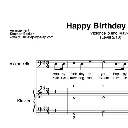 """Happy Birthday to You"" für Cello (Klavierbegleitung Level 2/10) 