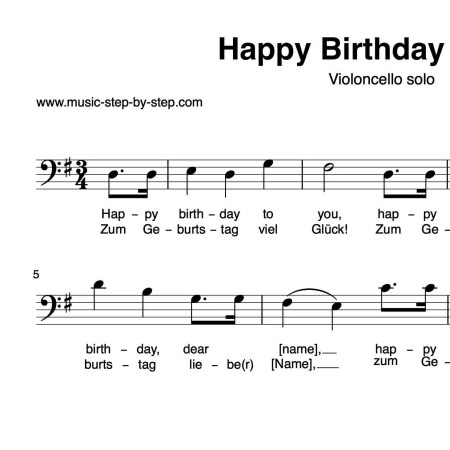 """Happy birthday to you"" für Cello solo 