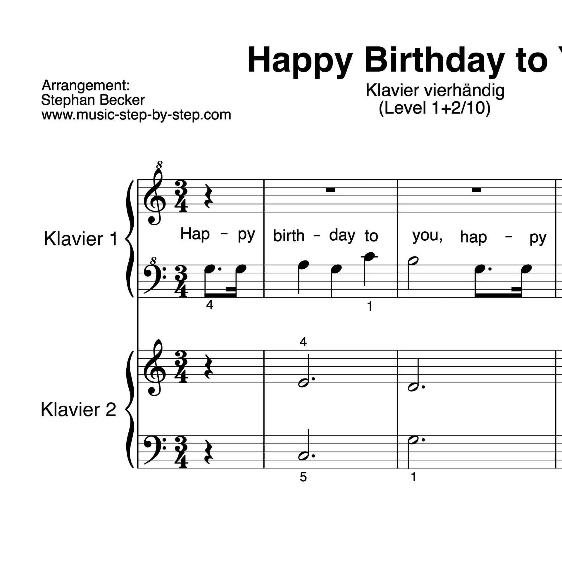 Happy Birthday To You Fur Klavier Vierhandig Level 1 2 10 Inkl Aufnahme Text Und Begleitaufnahme Music Step By Step