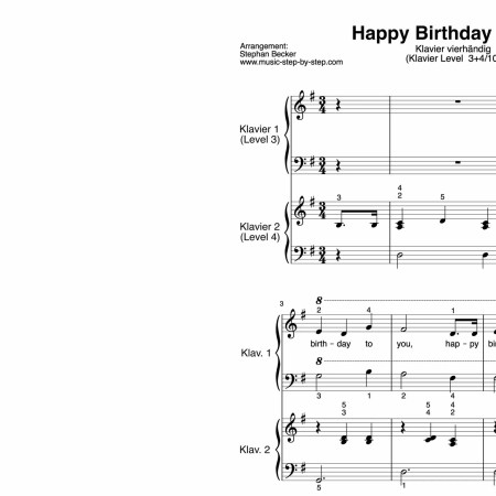 """Happy Birthday to You"" für Klavier vierhändig (Level 3+4/10) 