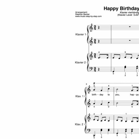 """Happy Birthday to You"" für Klavier vierhändig (Level 5+8/10) 