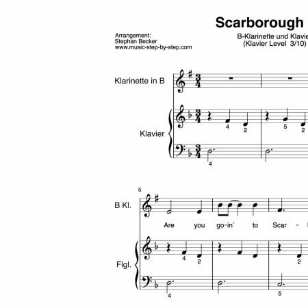 """""""Scarborough Fair"""" für Klarinette in B (Klavierbegleitung Level 3/10)   inkl. Aufnahme, Text und Playalong by music-step-by-step"""