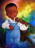 Bambino di colore che suona il violino