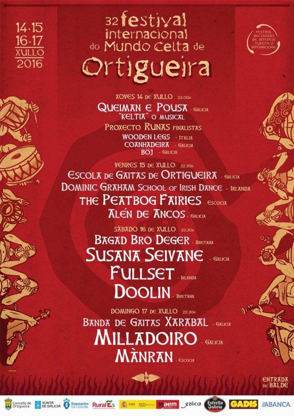 Cartel del Festival de Ortigueira 2016