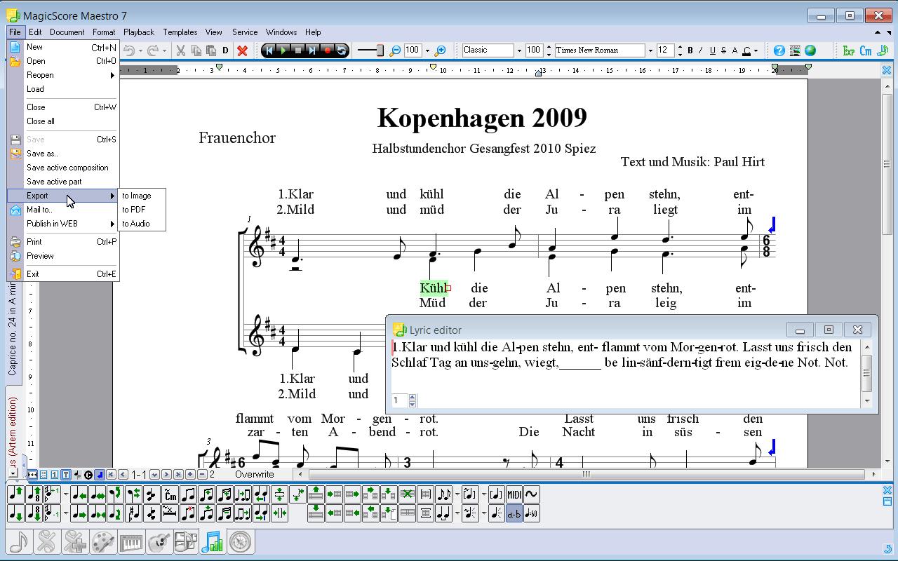 Magicscore Notensatzprogramm