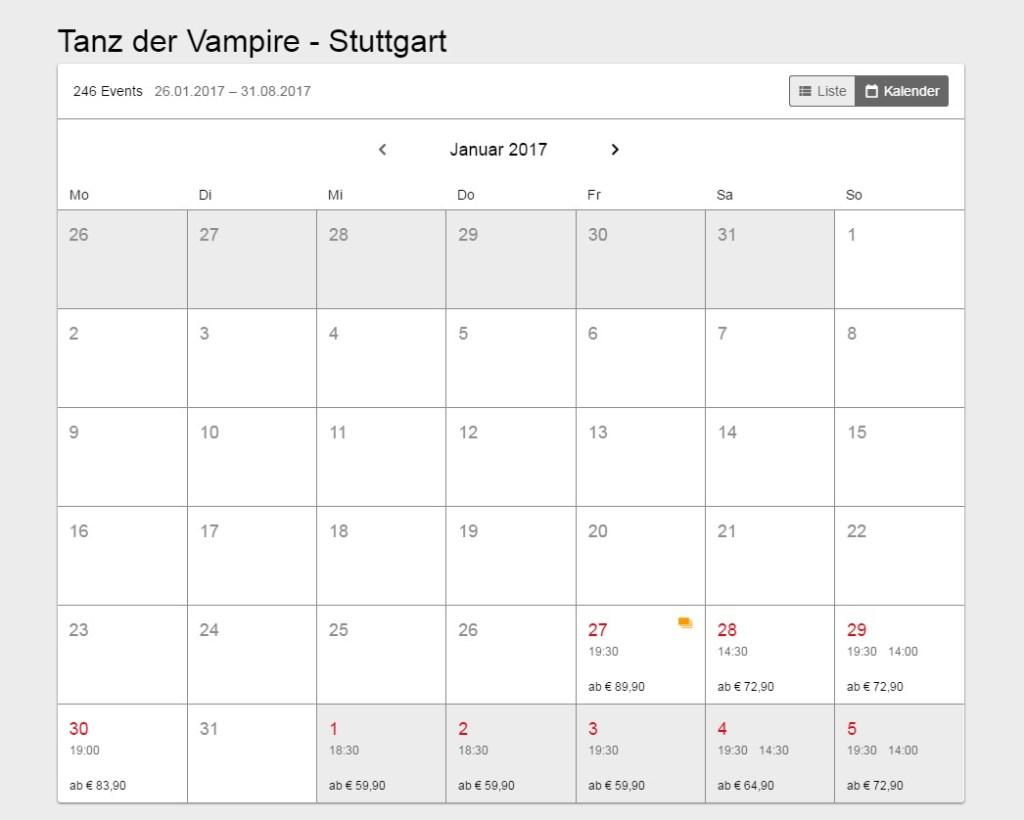 Stuttgart Tanz der Vampire Calendar