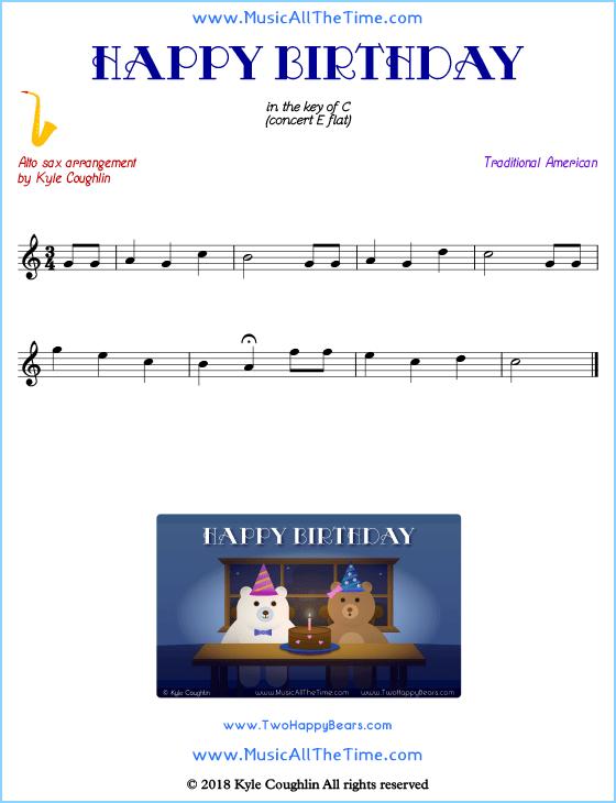 Happy Birthday Alto Saxophone Sheet Music