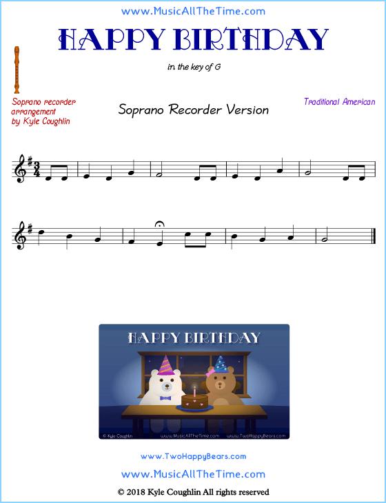 Happy Birthday Recorder Sheet Music