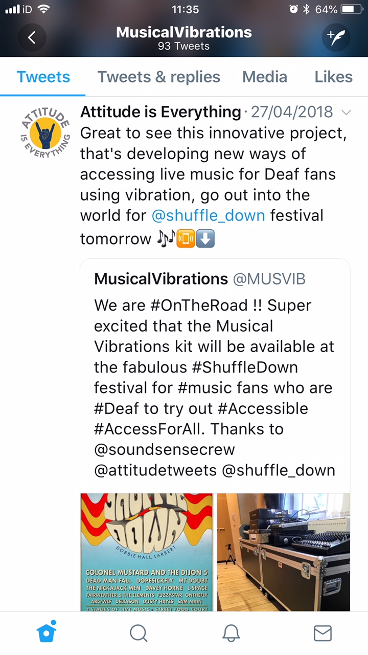 Tweet from the charity Attitude is Everything wich sayfans using vibratino, go out into the word for Shuffledown Festival tomorrow