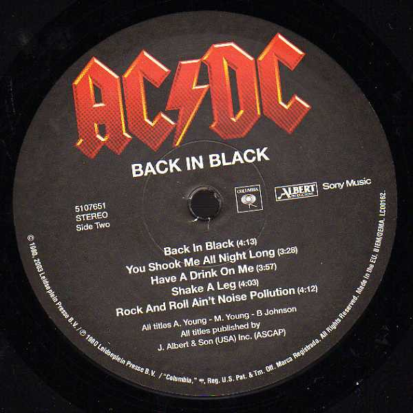 Vinilo del disco Back in Black de AC DC
