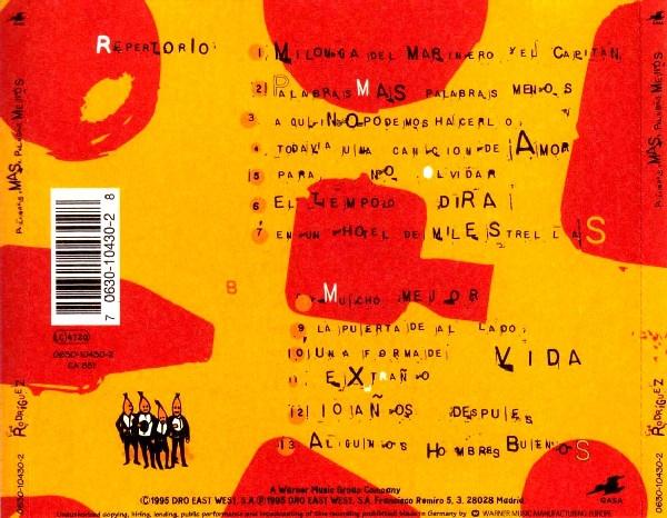 Contraportada del disco Palabras más, palabras menos de Los Rodríguez
