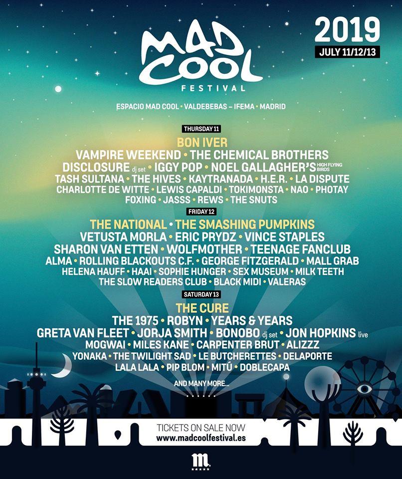 Cartel provisional del Mad Cool 2019