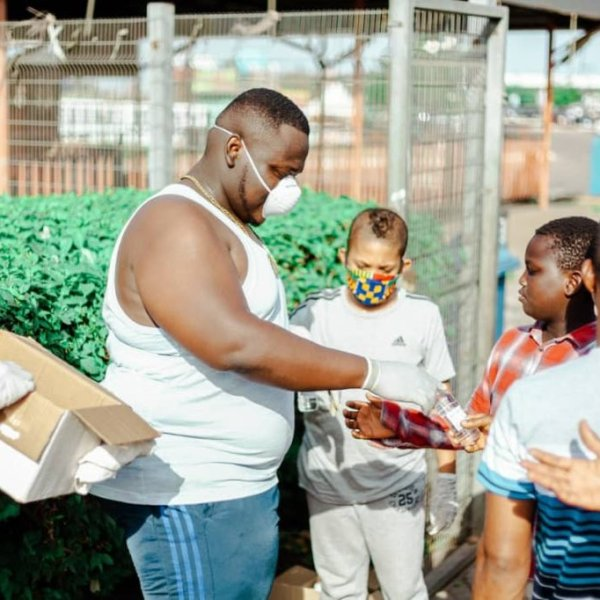 CJ Biggerman Shares Hand Sanitizers At Junction Mall To Help Fight COVID-19