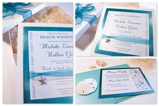 Blue Beach Wedding Invitation Music Box Invitesmusic