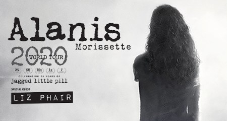 The back of Alanis Morissette's head in black and white